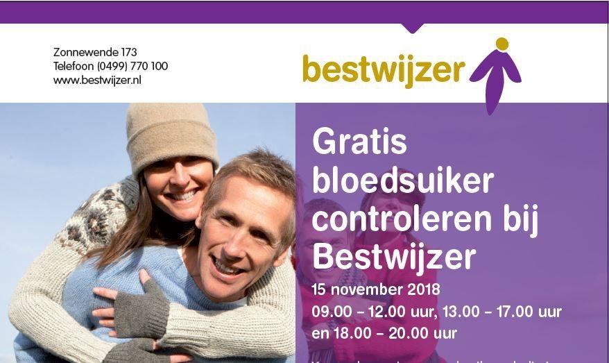Donderdag 15 november: Gratis bloedsuiker meten bij Bestwijzer